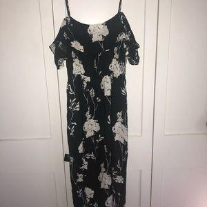 open shoulder, midi, black, floral dress